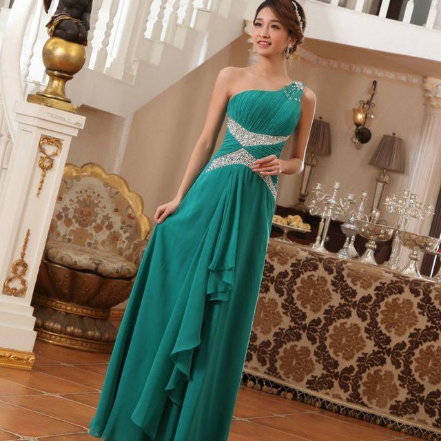 Greek green bridal dress