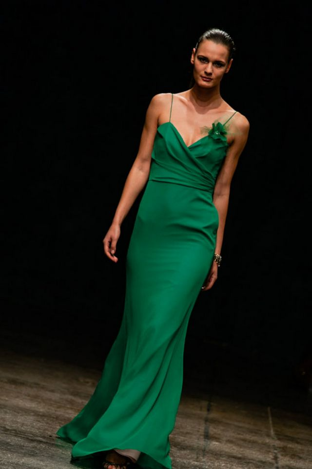 Greek green wedding dress