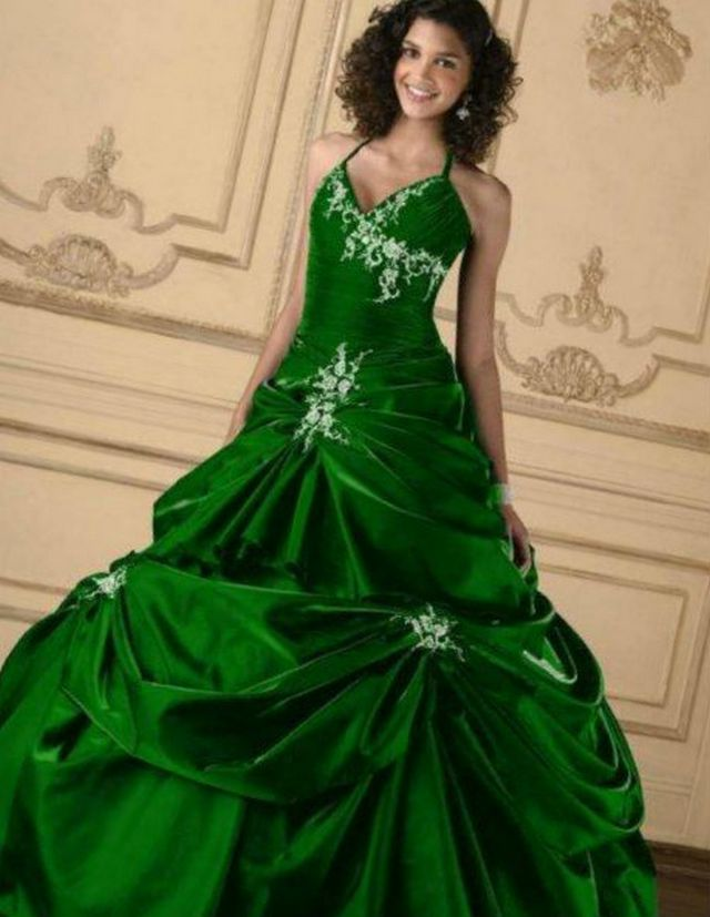 Wedding dresses green color