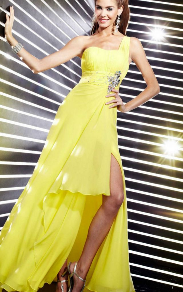 beautiful bright yellow wedding dress