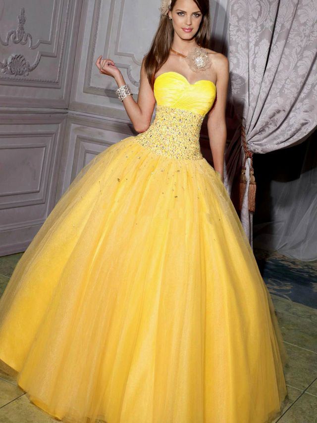 beautiful yellow bridal dresses
