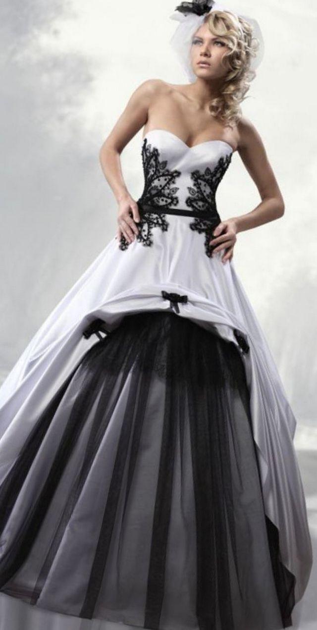 black and white bridal dress