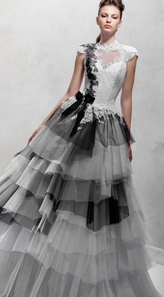 black and white gowns for wedding