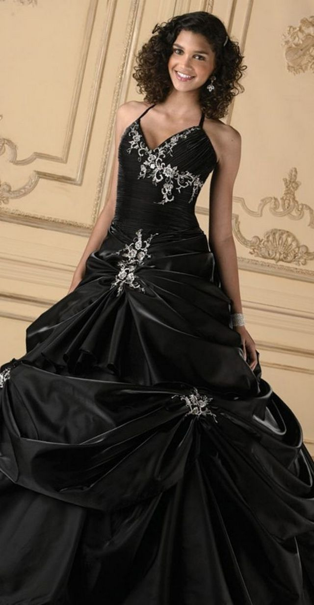 black bridal dress