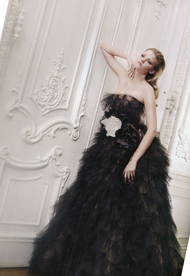black bridal gown photo