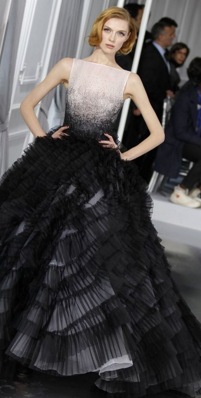 black bridal gown with train