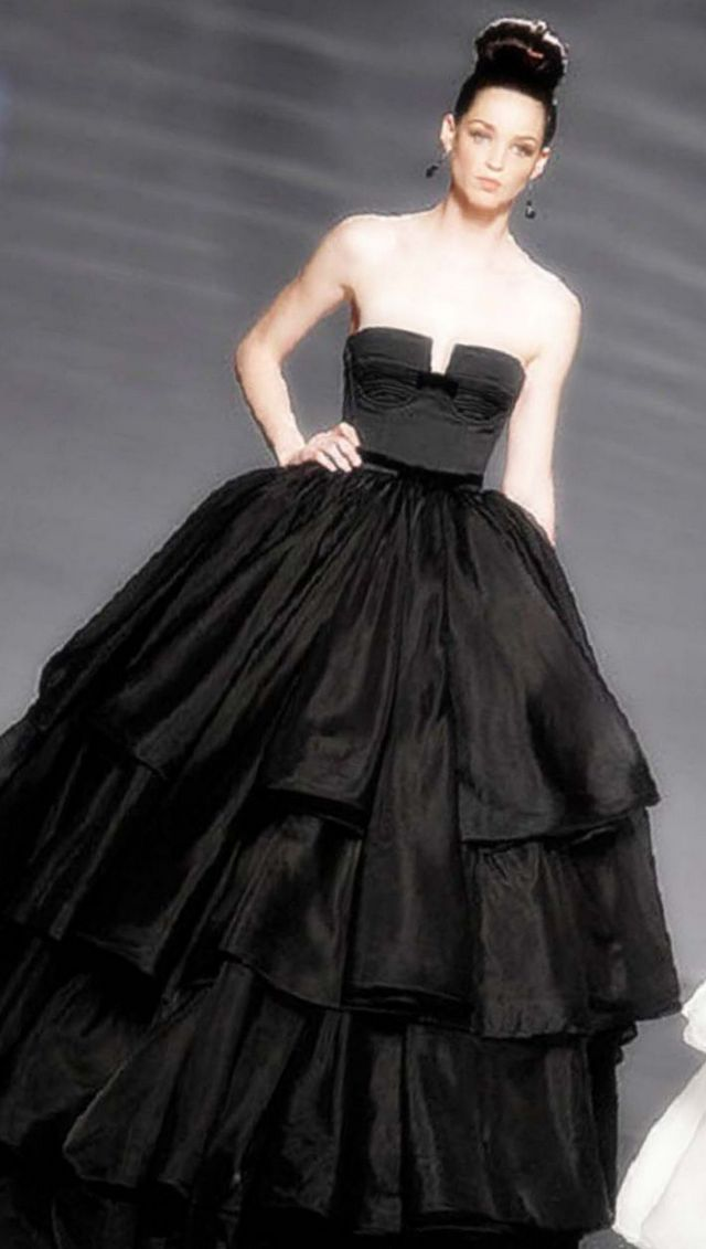 black bridal gown