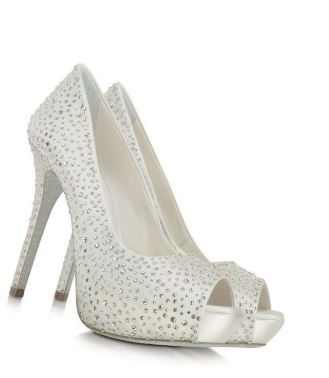white crystal platform bridal shoes