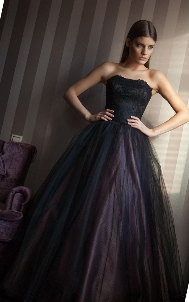 black puffy wedding dress