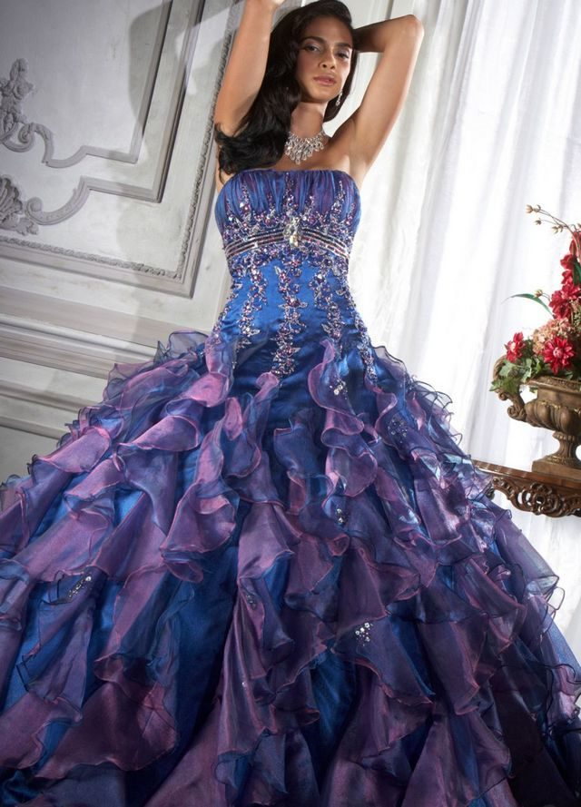 blue and purple wedding dress