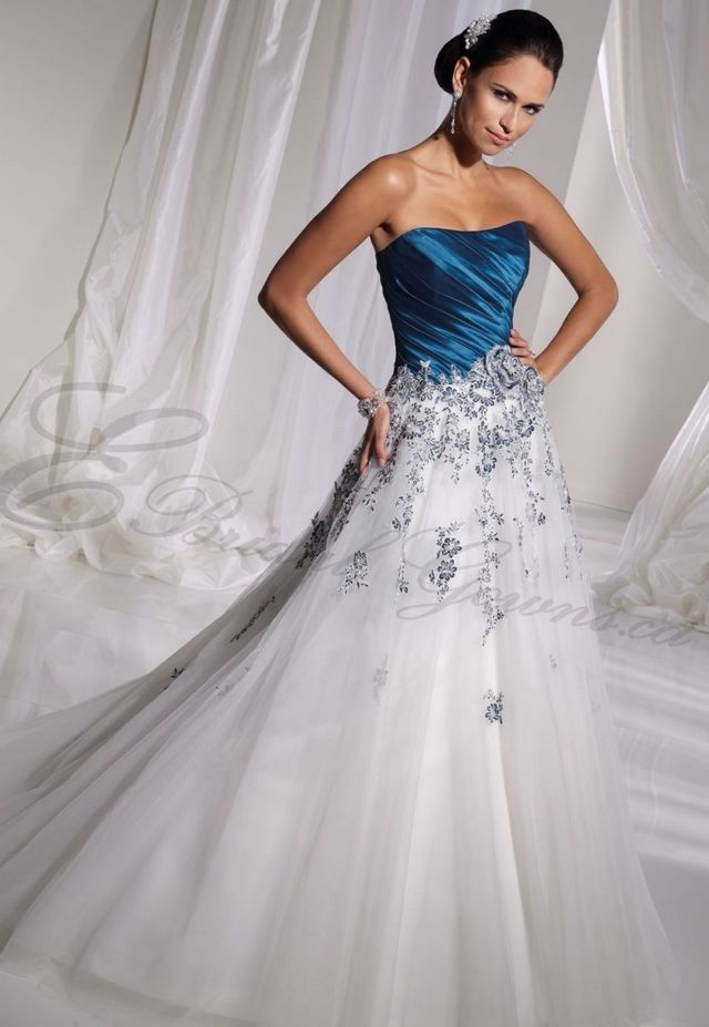 blue and white bridal dress