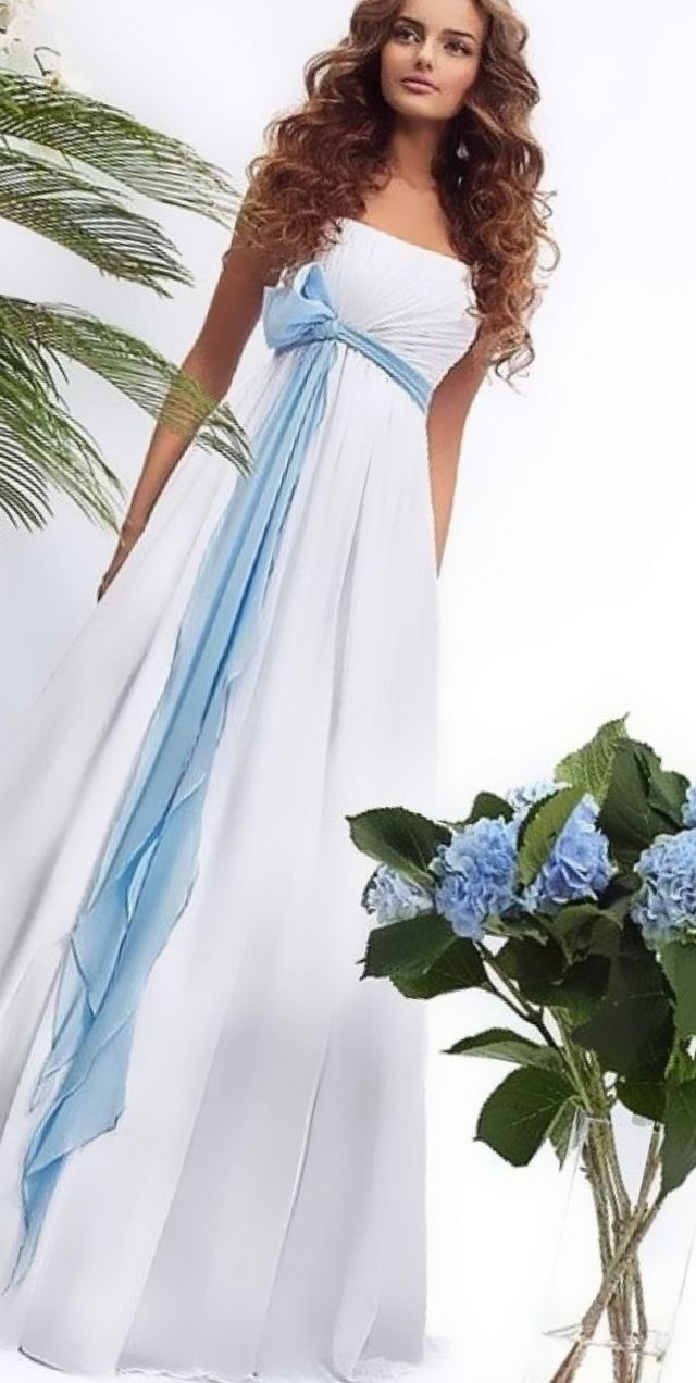 blue and white wedding gown