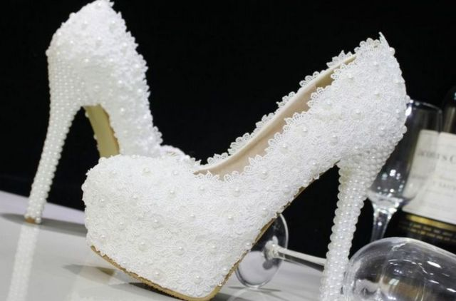 white and blue high heels wedding shoes