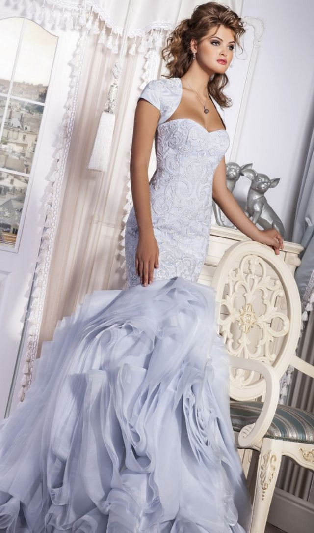 blue puffy bridal dress
