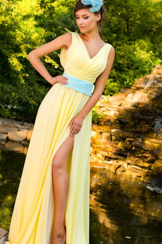 blue ribbon yellow wedding dress