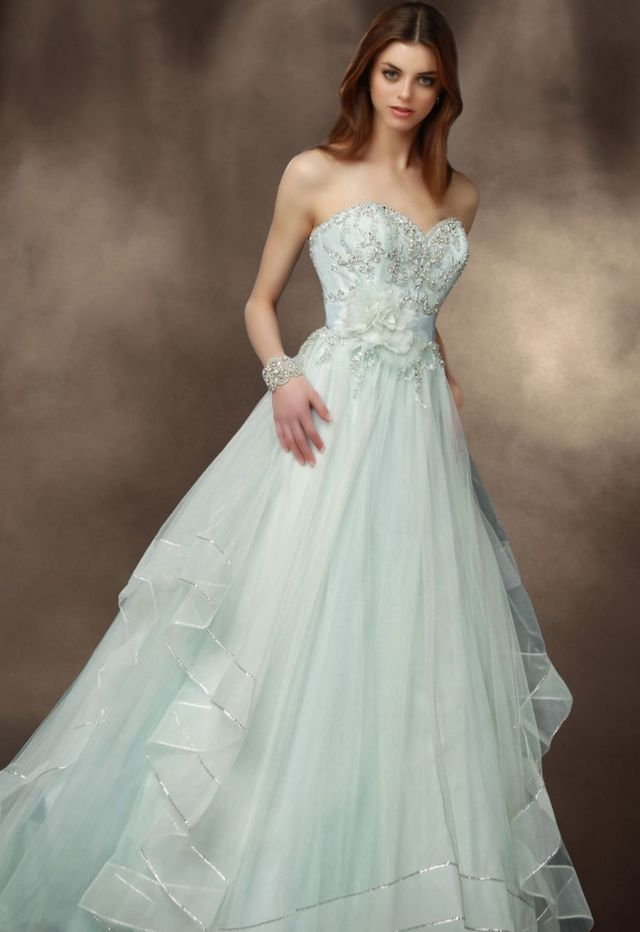 blue wedding dress with train