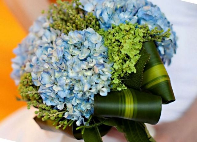 bridal bouquet of hydrangeas