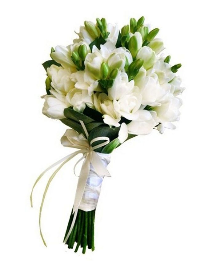 bridal bouquet white freesias image