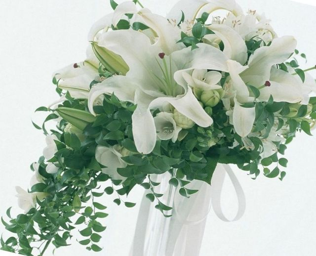 bridal bouquet with white lilies and roses