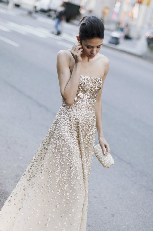 bridal dress with gold elements