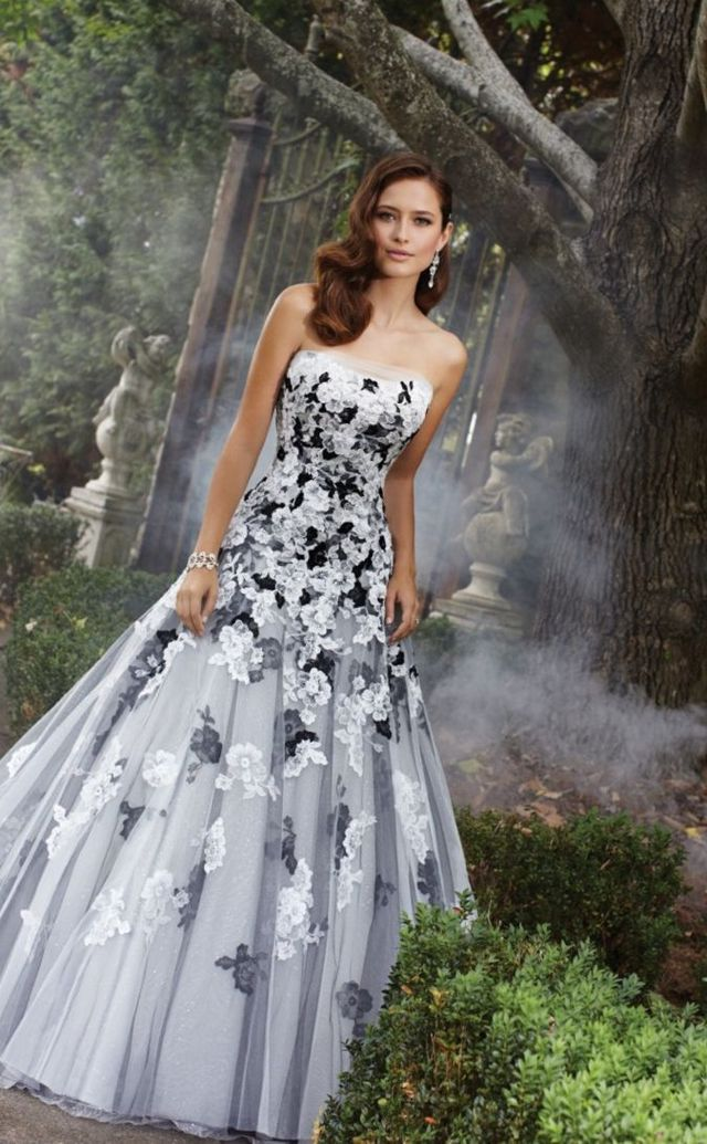 bridal gown with black elements picture