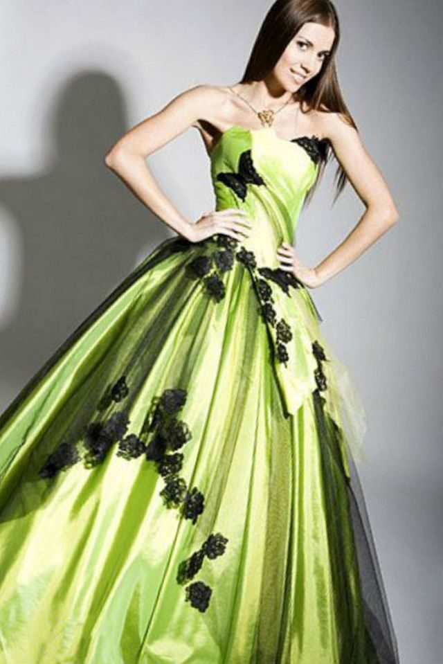 bridal gowns green color