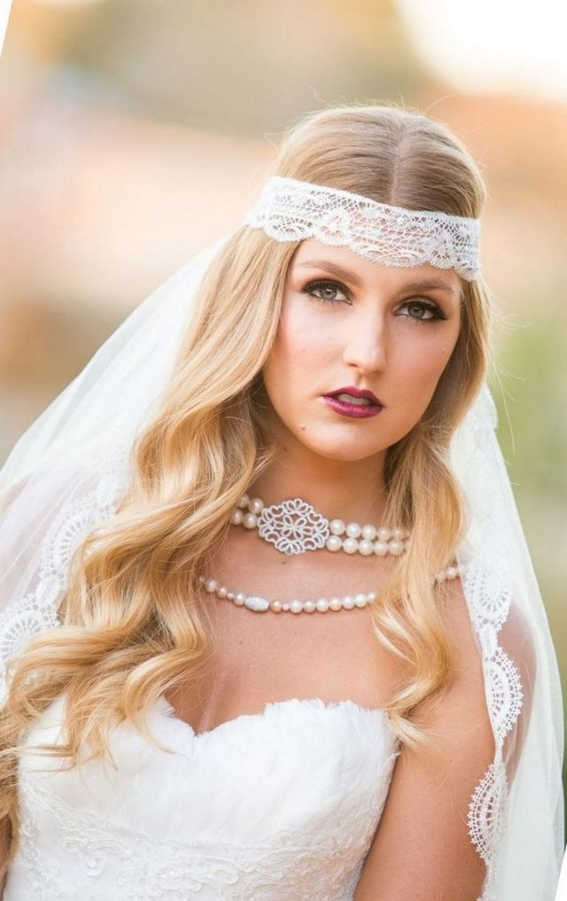 bridal hair for long veil