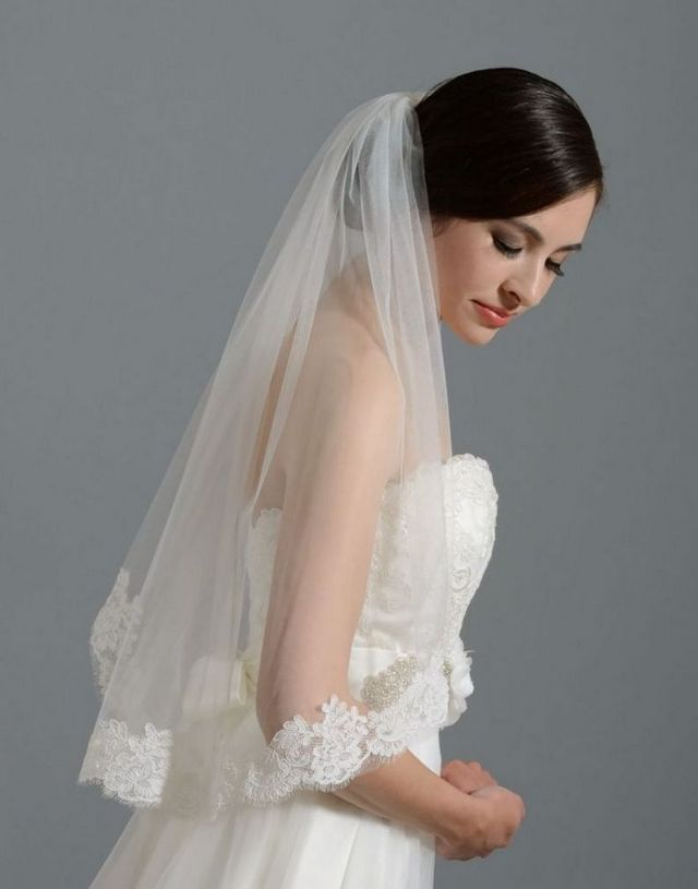 bridal hair with long veil