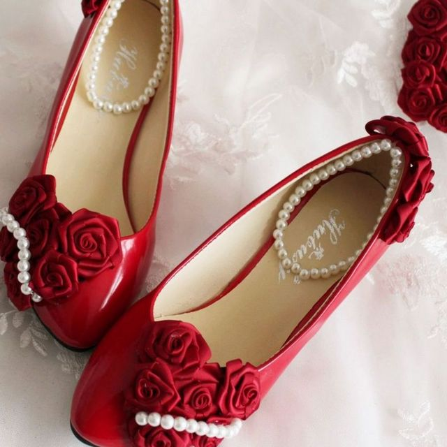 red bridesmaid shoes with no heels