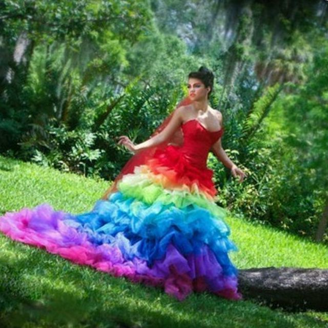 bright wedding dress with train
