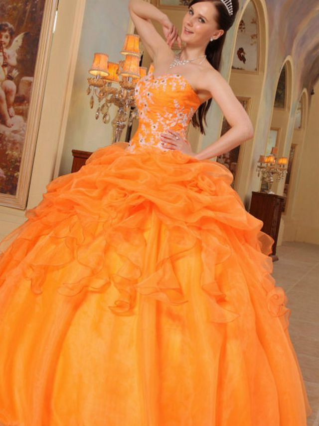 camo and orange bridal dresses