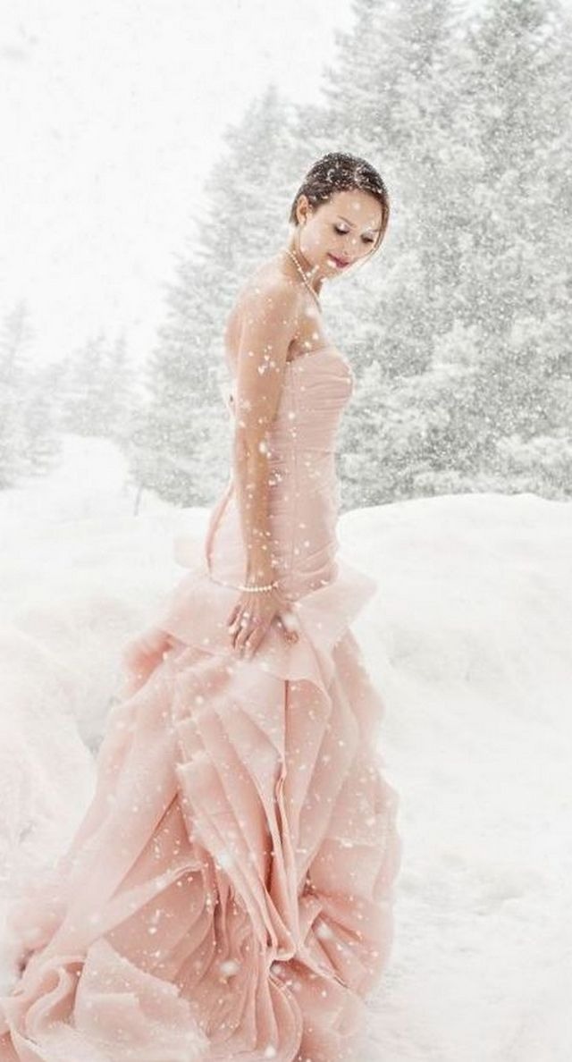 casual pink winter wedding dresses