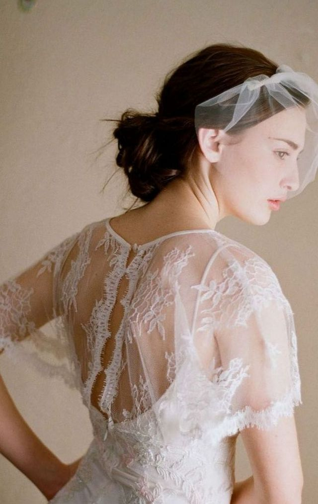 cheap short ivory bridal veils