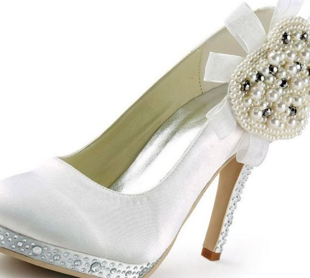 cream platform wedding shoes