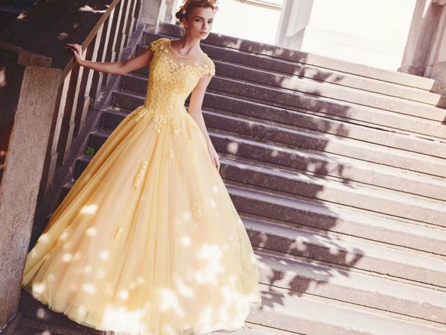 cream yellow wedding dresses