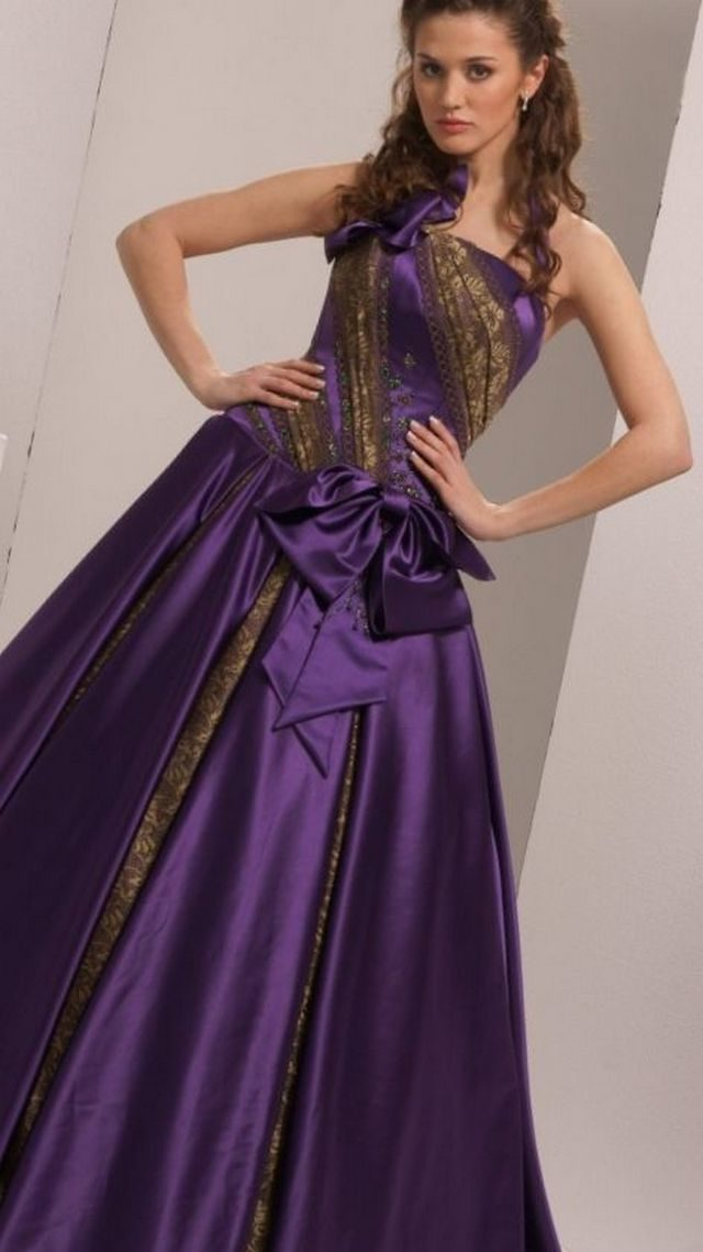 dark purple wedding dress photo