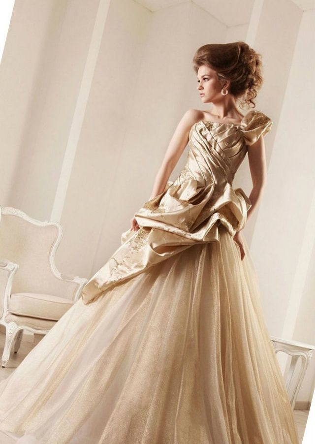 gold bridal dress photo