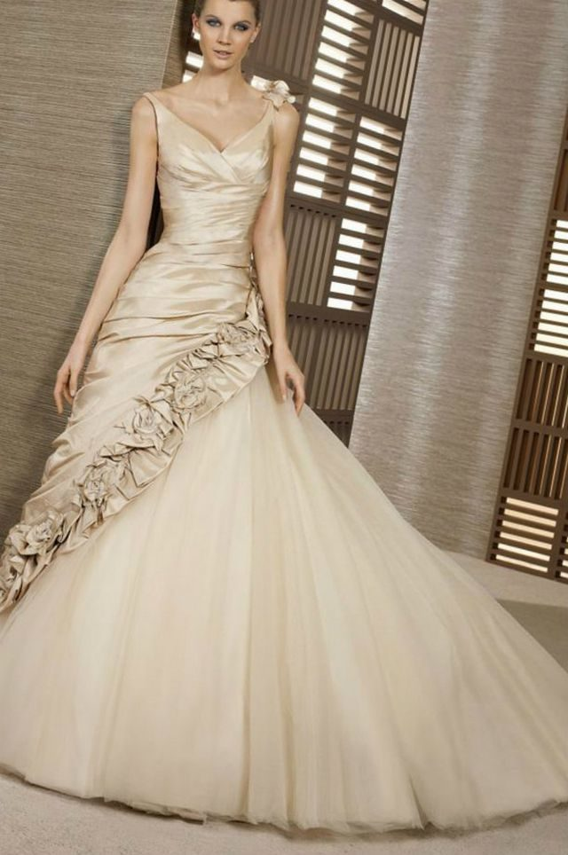 gold bridal gown with train