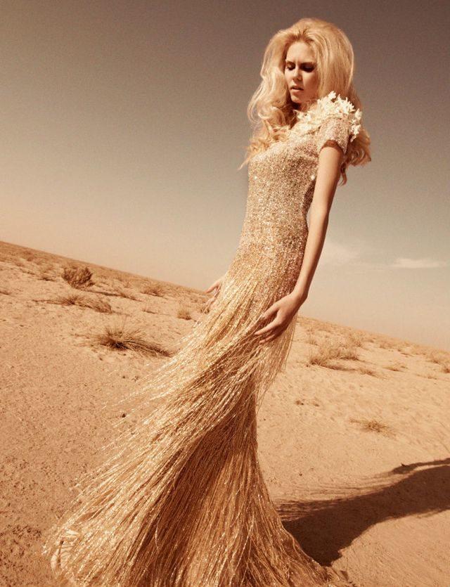 gold wedding dress image