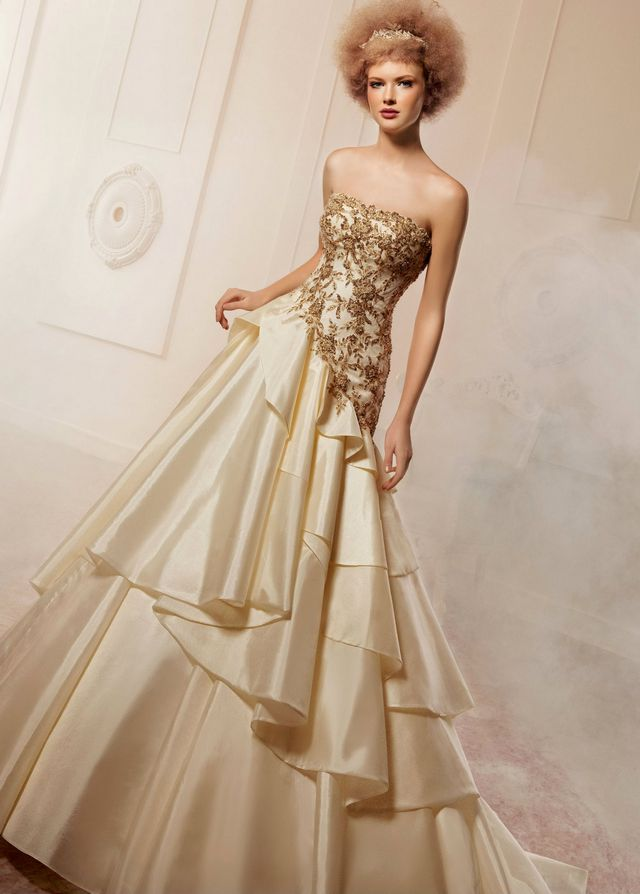 gold wedding dress with train
