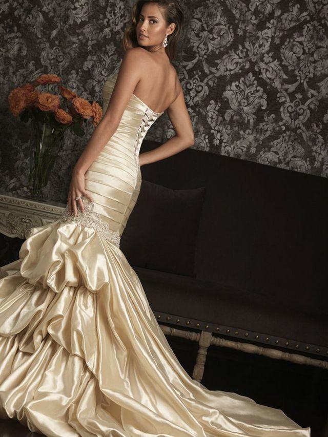 golden wedding dress picture