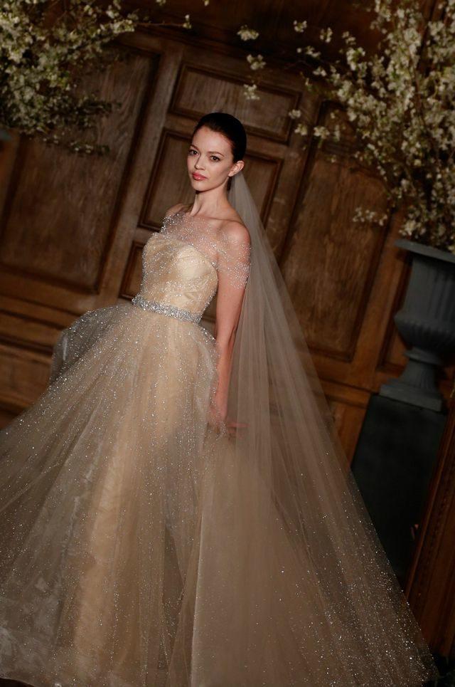 golden wedding dress with veil
