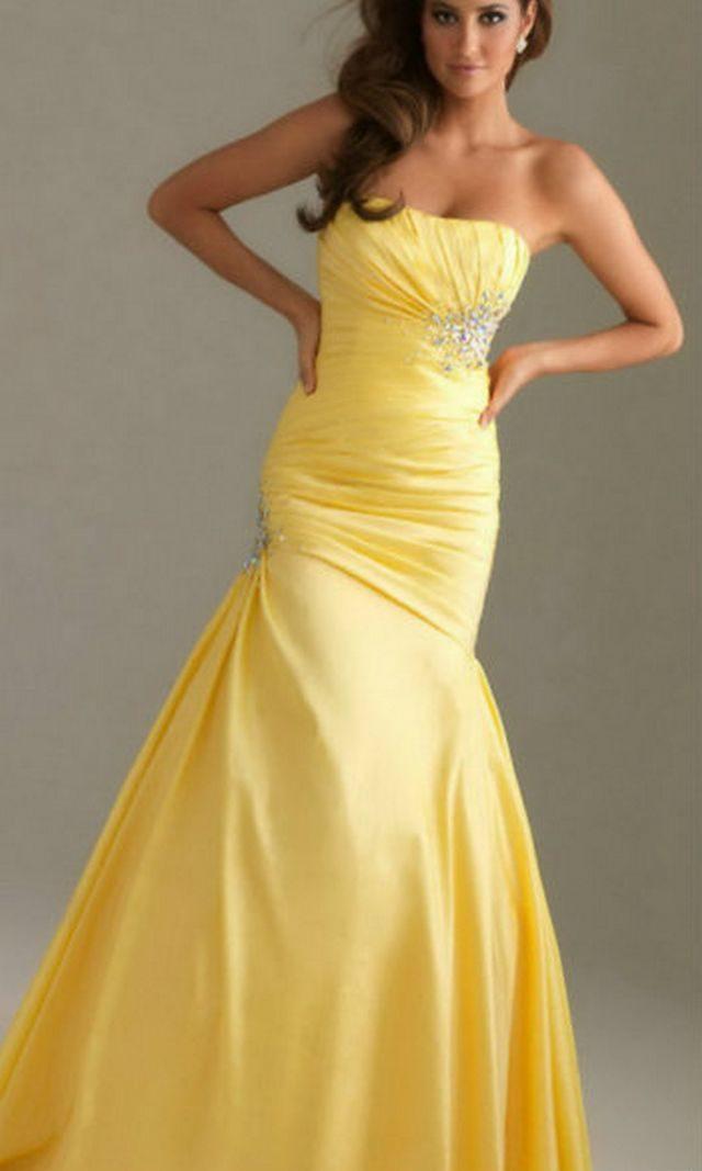gorgeious mermaid yellow wedding dresses picture