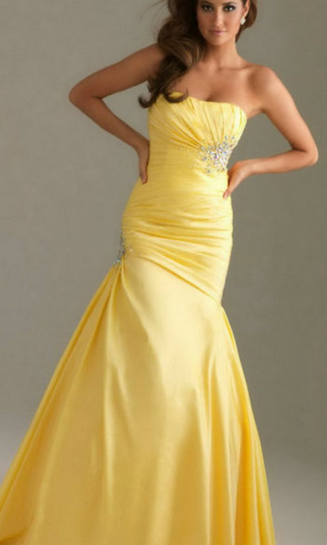 gorgeious mermaid yellow wedding dresses picture