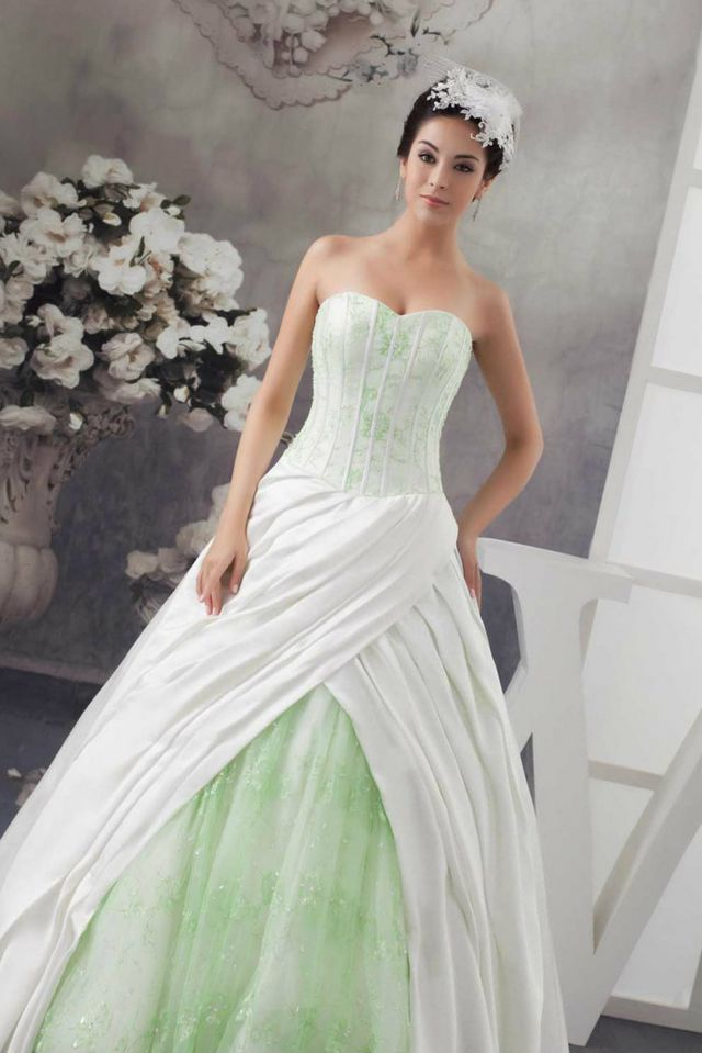 green bridal dress picture