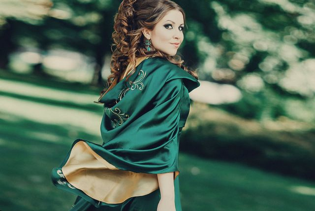 green wedding dress picture