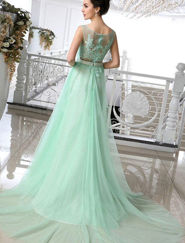 green wedding dress with train