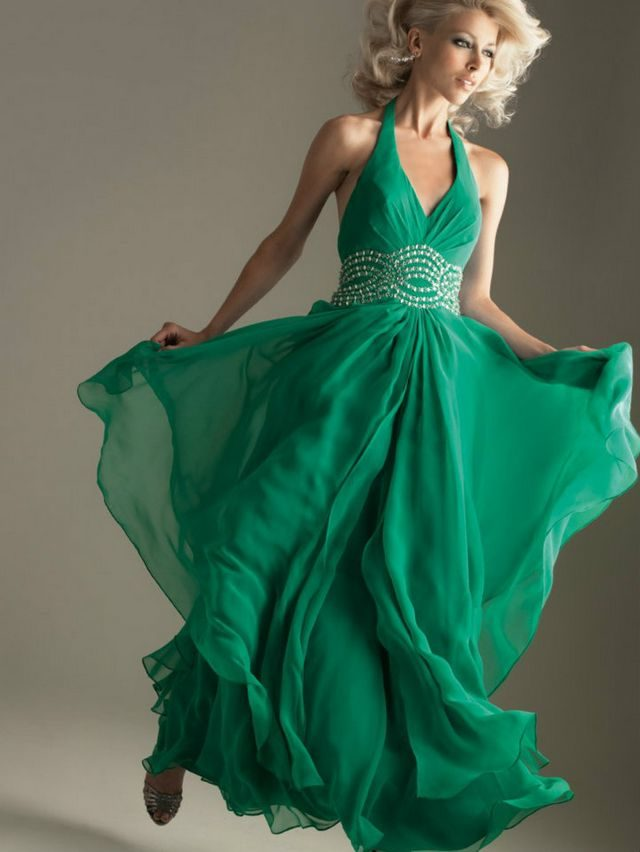 green wedding dress without sleeves