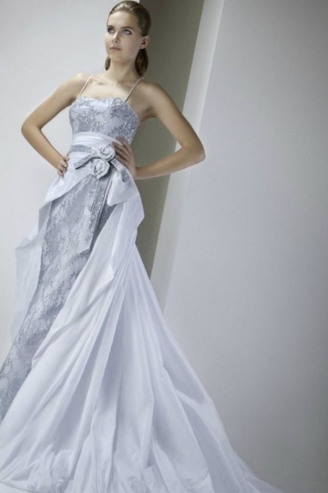 grey wedding dress image