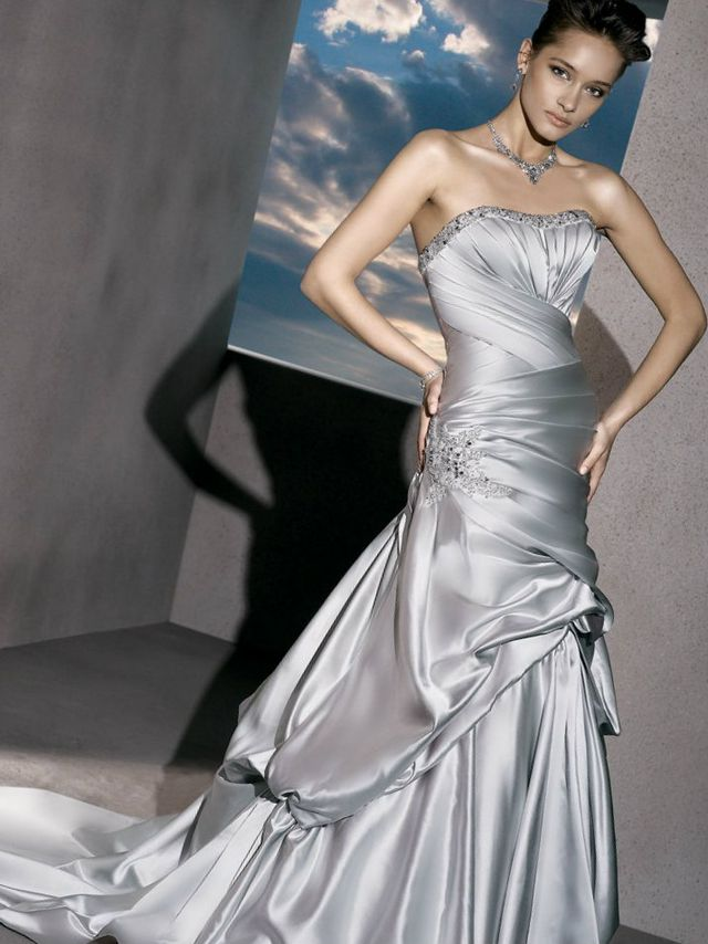 grey wedding dress with train